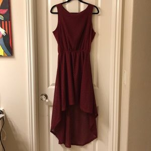 maroon lace high low dress